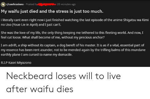 Anime, Life, and Love: )r/confessions Posted by  or 25 minutes ago  My waifu just died and the stress is just too much.  i literally cant even right now i just finished watching the last episode of the anime Shigatsu wa Kimi  no Uso (Youe Lie in April) and I just can't.  She was the love of my life, the only thing keeping me tethered to this fleeting world. And now, I  feel cut loose. What shall become of me, without my precious anchor?  I am adrift, a ship without its captain, a dog bereft of his master. It is as if a vital, essential part of  my essence has been rent asunder, not to be mended again by the trifling balms of this mundane  earthly plane I am cursed to name my domacile.  R.I.P Kaori Miyazono Neckbeard loses will to live after waifu dies