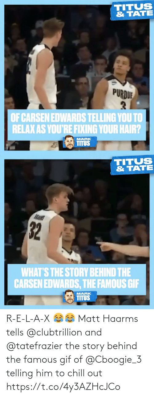 Telling: R-E-L-A-X 😂😂  Matt Haarms tells @clubtrillion and @tatefrazier the story behind the famous gif of @Cboogie_3 telling him to chill out https://t.co/4y3AZHcJCo