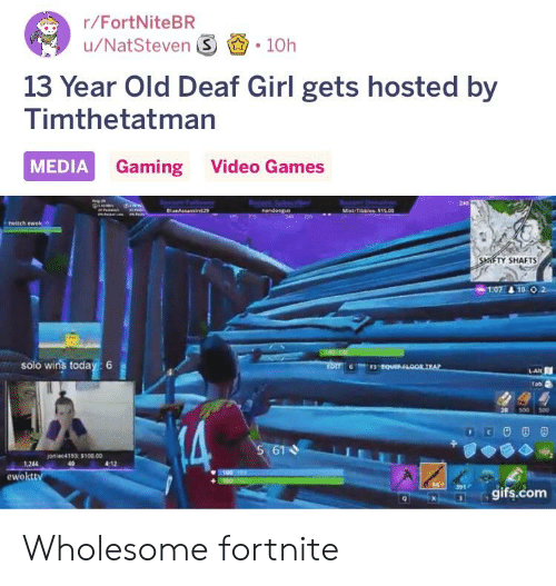 Anaconda, Twitch, and Video Games: r/FortNiteBR  u/NatSteven S 10h  13 Year Old Deaf Girl gets hosted by  Timthetatman  MEDIA Gaming Video Games  240  twitch ewok*  TY SHAFTS  solo wins today: 6  Tab  20 300 500  oniee4193 $100.00  1,244  4:12  ewokttv  gifs.com Wholesome fortnite