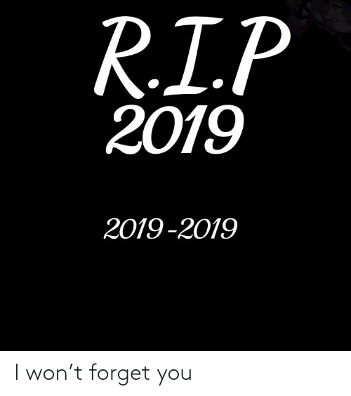 I Won: R.I.P  2019  2019-2019 I won't forget you