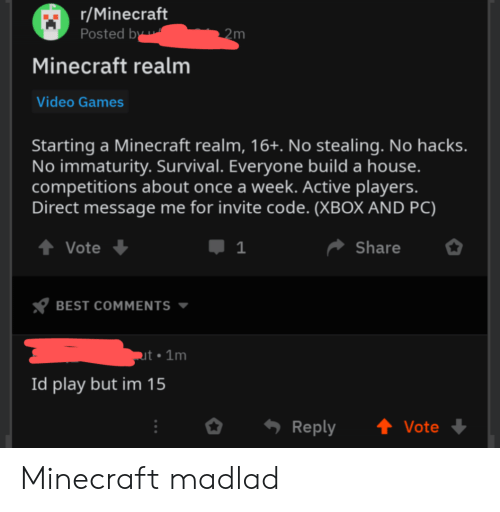 Immaturity: r/Minecraft  Posted by  2m  Minecraft realm  Video Games  Starting a Minecraft realm, 16+. No stealing. No hacks.  No immaturity. Survival. Everyone build a house.  competitions about once a week. Active players.  Direct message me for invite code. (XBOX AND PC)  t Vote  1  Share  BEST COMMENTS  ut 1m  Id play but im 15  t Vote  Reply Minecraft madlad