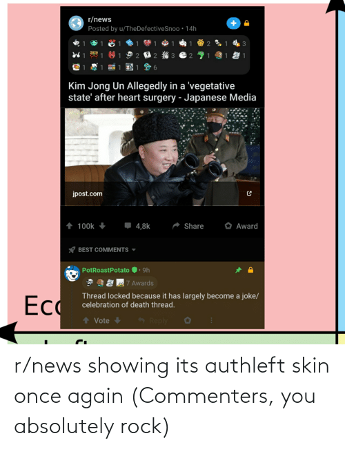 skin: r/news showing its authleft skin once again (Commenters, you absolutely rock)
