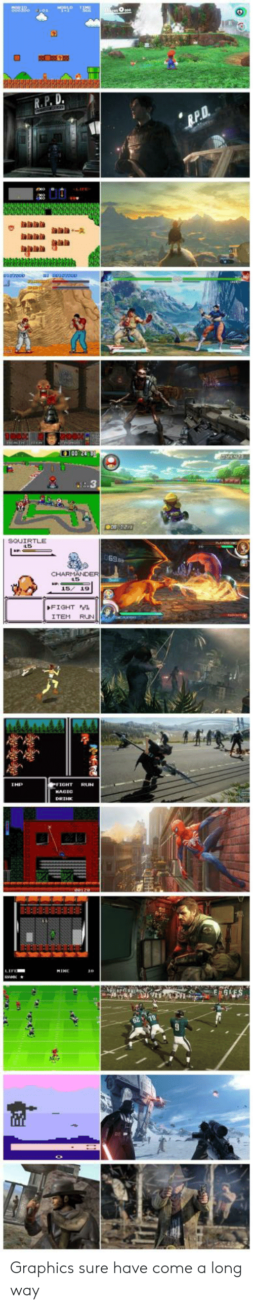 squirtle: R.P. D  100 248  SQUIRTLE  FIGHT  ITEM RUN  IHP  IFE Graphics sure have come a long way