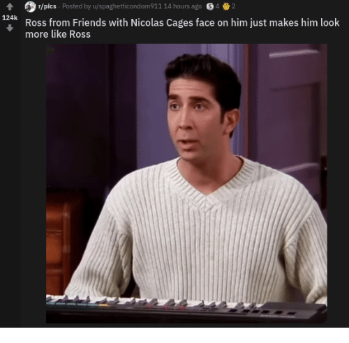 Friends, Ross, and Him: r/pics Posted by u/spaghetticondom911 14 hours ago S42  124k  Ross from Friends with Nicolas Cages face on him just makes him look  more like Ross