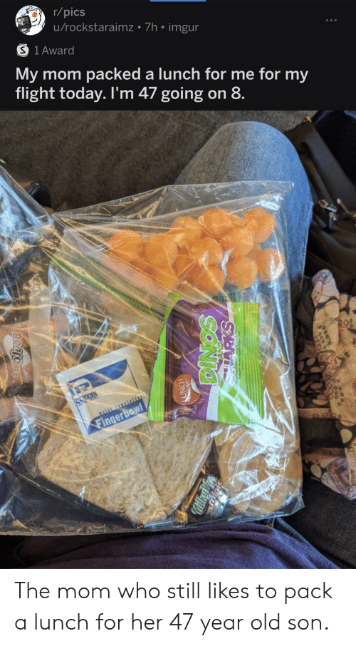 Imgur: r/pics  u/rockstaraimz 7h imgur  S 1 Award  My mom packed a lunch for me for my  flight today. I'm 47 going on 8  Fingerbowl  FOO  SONIO  MilkyV  Bantocr The mom who still likes to pack a lunch for her 47 year old son.