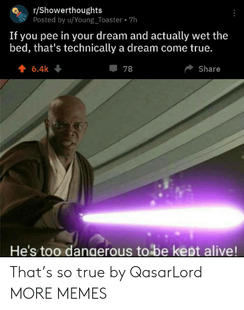 toaster: r/Showerthoughts  Posted by u/Young_Toaster 7h  If you pee in your dream and actually wet the  bed, that's technically a dream come true.  6.4k  78  Share  He's too dangerous to be kept alive! That's so true by QasarLord MORE MEMES