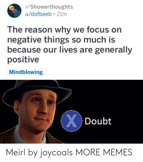 Dank, Memes, and Target: r/Showerthoughts  u/dofbeeb 21mm  The reason why we focus on  negative things so much is  because our Iives are generally  positive  Mindblowing  Doubt Meirl by joycoals MORE MEMES