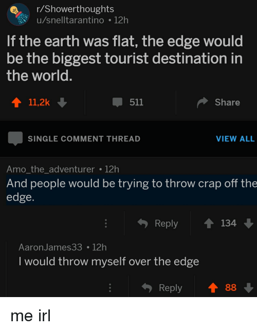 over the edge: r/Showerthoughts  u/snelltarantino 12h  If the earth was flat, the edge would  be the biggest tourist destination in  the world  411,2k  511  Share  SINGLE COMMENT THREAD  VIEW ALL  Amo the adventurer 12h  And people would be trying to throw crap off the  edge  Reply 134  AaronJames3312h  I would throw myself over the edge  Reply88 me irl