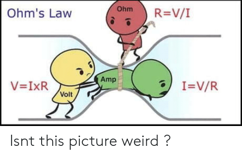 ohm: ) R=V/I  Ohm  Ohm's Law  Amp  Volt Isnt this picture weird ?