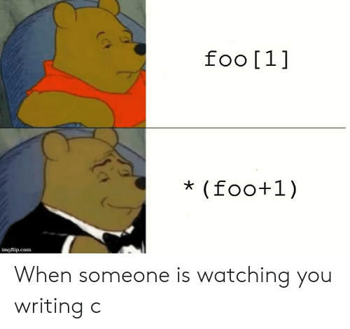 Com, You, and Imgflip: ra  foo [1]  imgflip.com When someone is watching you writing c