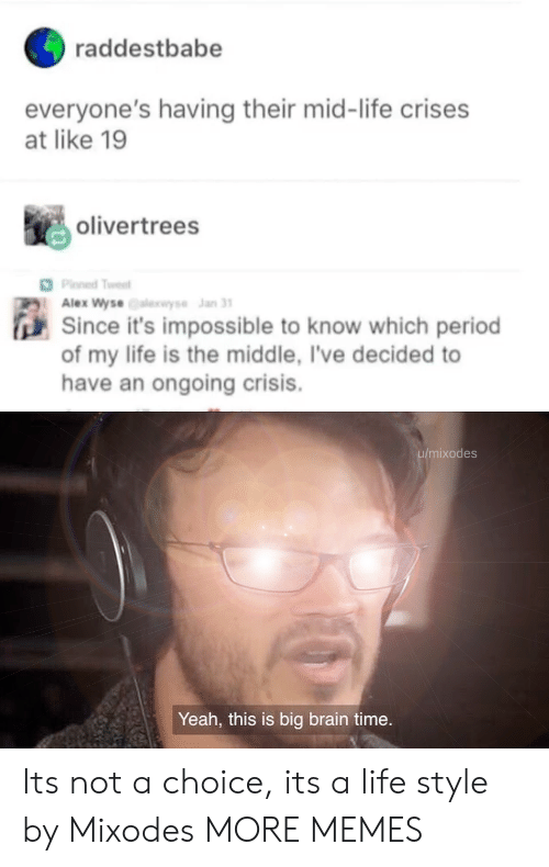 Dank, Life, and Memes: raddestbabe  everyone's having their mid-life crises  at like 19  olivertrees  Plned Twest  Alex Wyse se Jan 31  Since it's impossible to know which period  of my life is the middle, I've decided to  have an ongoing crisis.  u/mixodes  Yeah, this is big brain time. Its not a choice, its a life style by Mixodes MORE MEMES