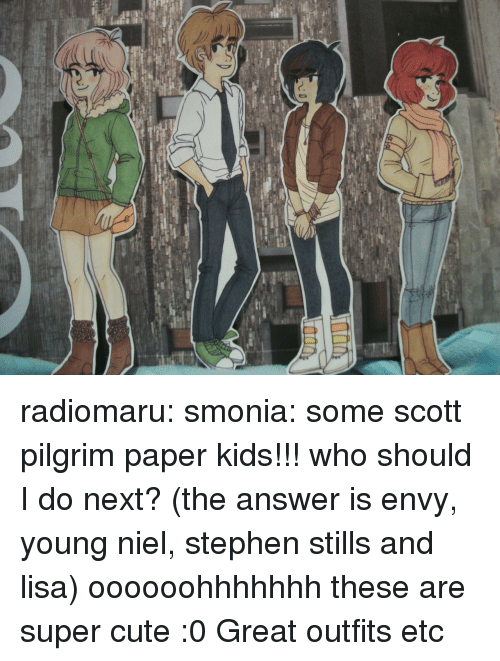 Stills: radiomaru:  smonia:  some scott pilgrim paper kids!!! who should I do next? (the answer is envy, young niel, stephen stills and lisa)  oooooohhhhhhh these are super cute :0 Great outfits etc