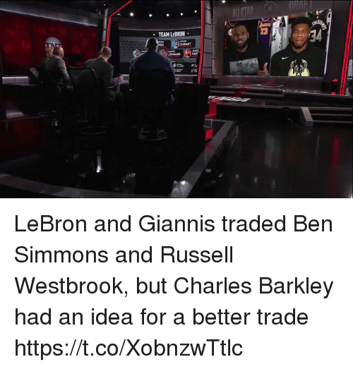 Leonard: RAFT  23  TEAM LEBRON  BURANT  LEONARD  21 LeBron and Giannis traded Ben Simmons and Russell Westbrook, but Charles Barkley had an idea for a better trade https://t.co/XobnzwTtlc