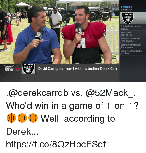 kenning: RAIDERS  2017 SEASON  RAIDERS  Training Camp Location:  Napa, CA  Head Coach:  Jack Del Rio  Offensive Coordinator:  Todd Downing  Defensive Coordinator:  Ken Norton Jr.  Special Teams Coordinator:  Brad Seely  RAIDERS  David Carr goes 1-on-1 with his brother Derek Carr  RAINING .@derekcarrqb vs. @52Mack_. Who'd win in a game of 1-on-1? 🏀🏀🏀  Well, according to Derek... https://t.co/8QzHbcFSdf