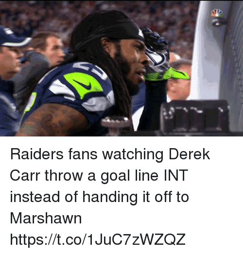 Nfl, Goal, and Raiders: Raiders fans watching Derek Carr throw a goal line INT instead of handing it off to Marshawn https://t.co/1JuC7zWZQZ
