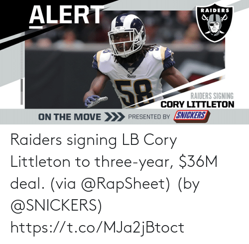 year: Raiders signing LB Cory Littleton to three-year, $36M deal. (via @RapSheet)  (by @SNICKERS) https://t.co/MJa2jBtoct