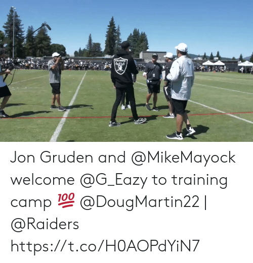 camp: RAIDIRS Jon Gruden and @MikeMayock welcome @G_Eazy to training camp 💯  @DougMartin22 | @Raiders https://t.co/H0AOPdYiN7