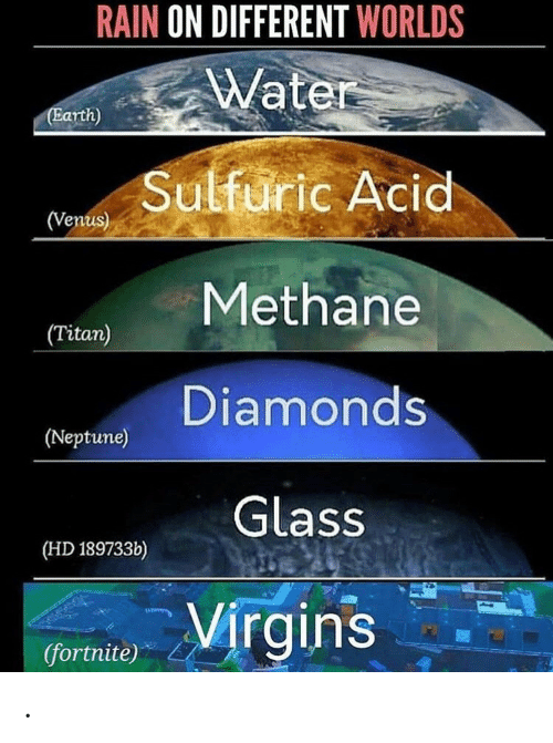 Earth, Neptune, and Rain: RAIN ON DIFFERENT WORLDS  Water  (Earth)  Sulfuric Acid  (Venus)  Methane  (Titan)  Diamonds  (Neptune)  Glass  (HD 189733b)  Virgins  (fortnite) .