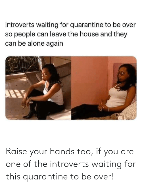 introverts: Raise your hands too, if you are one of the introverts waiting for this quarantine to be over!