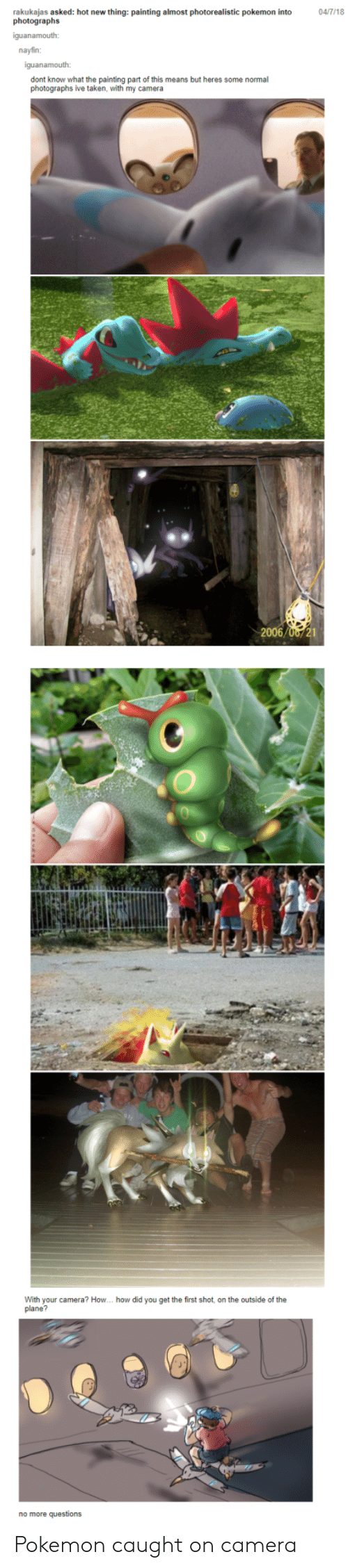 Pokemon, Taken, and Camera: rakukajas asked: hot new thing: painting almost photorealistic pokemon into  photographs  04/7/18  nayfin:  dont know what the painting part of this means but heres some normal  photographs ive taken, with my camera  With your camera? How. how did you get the first shot, on the outside of the  plane?  no more questions Pokemon caught on camera