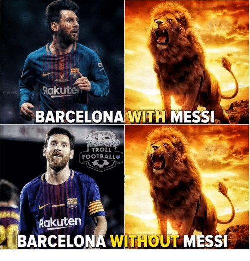 Barcelona, Memes, and Troll: Rakuter  SBARCELONAWITI MESSİ  F EDITS  TROLL  FOOTBALLO  Rakuten  BARCELONA WITHOUT MESS