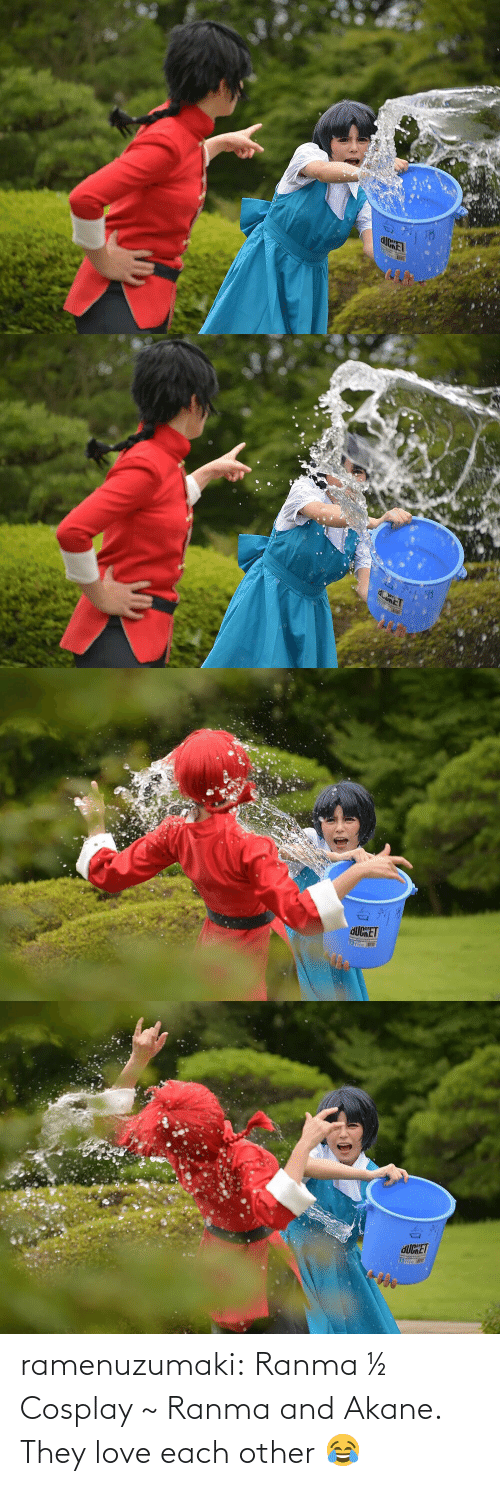 Cosplay: ramenuzumaki:   Ranma ½ Cosplay ~ Ranma and Akane. They love each other 😂