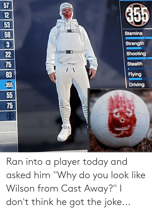"""ran: Ran into a player today and asked him """"Why do you look like Wilson from Cast Away?"""" I don't think he got the joke..."""