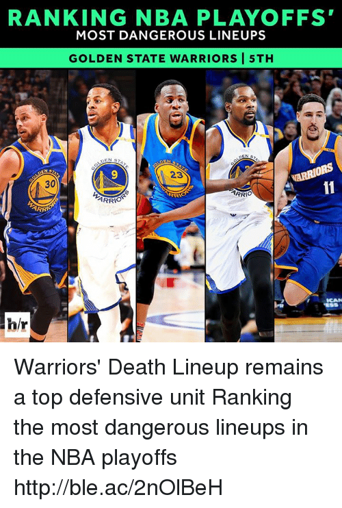 Golden State Warriors, Nba, and Death: RANKING NBA PLAYOFFS  MOST DANGEROUS LINEUPS  GOLDEN STATE WARRIORS I 5TH  DEN  ARRIORS  30  ARRIO  RRA  ARRIO  ARRI  hir Warriors' Death Lineup remains a top defensive unit  Ranking the most dangerous lineups in the NBA playoffs http://ble.ac/2nOlBeH