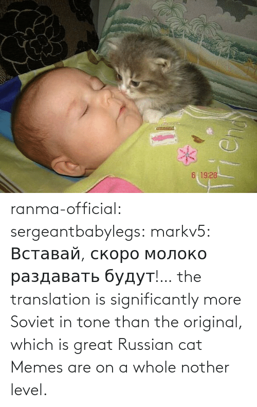 Are: ranma-official: sergeantbabylegs:  markv5: Вставай, скоро молоко раздавать будут!…  the translation is significantly more Soviet in tone than the original, which is great    Russian cat Memes are on a whole nother level.
