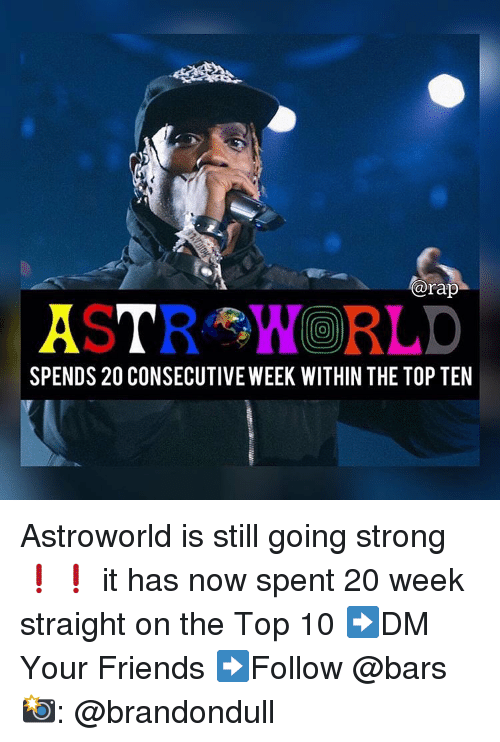 top ten: @rap  0  SPENDS 20 CONSECUTIVE WEEK WITHIN THE TOP TEN Astroworld is still going strong❗️❗️ it has now spent 20 week straight on the Top 10 ➡️DM Your Friends ➡️Follow @bars 📸: @brandondull