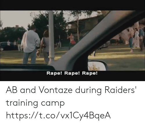 Football, Nfl, and Sports: Rape! Rape! Rape! AB and Vontaze during Raiders' training camp https://t.co/vx1Cy4BqeA