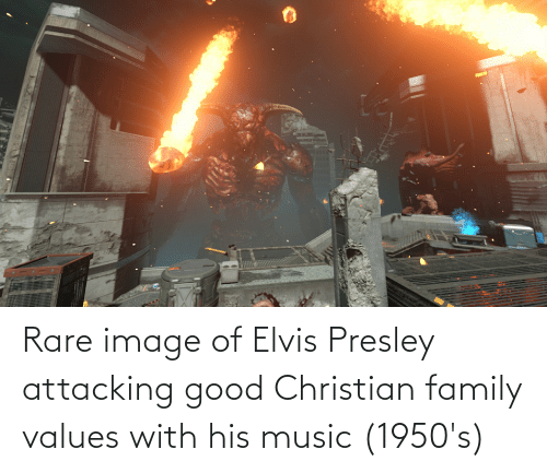 values: Rare image of Elvis Presley attacking good Christian family values with his music (1950's)