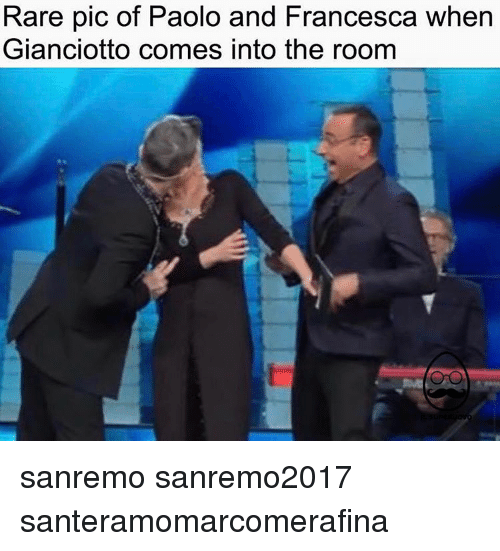 Sanremo: Rare pic of Paolo and Francesca when  Gianciotto comes into the room sanremo sanremo2017 santeramomarcomerafina