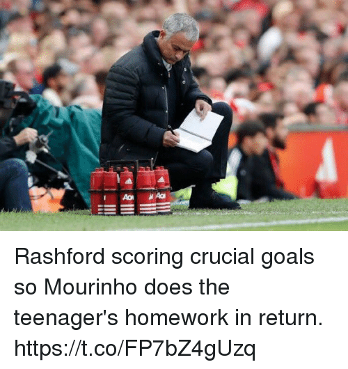 Goals, Soccer, and Homework: Rashford scoring crucial goals so Mourinho does the teenager's homework in return. https://t.co/FP7bZ4gUzq