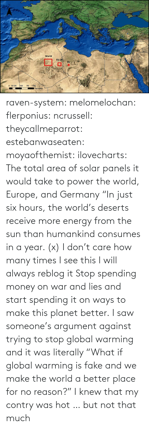 "fake: raven-system:  melomelochan:   flerponius:  ncrussell:  theycallmeparrot:  estebanwaseaten:  moyaofthemist:  ilovecharts:  The total area of solar panels it would take to power the world, Europe, and Germany    ""In just six hours, the world's deserts receive more energy from the sun than humankind consumes in a year. (x)  I don't care how many times I see this I will always reblog it  Stop spending money on war and lies and start spending it on ways to make this planet better.   I saw someone's argument against trying to stop global warming and it was literally ""What if global warming is fake and we make the world a better place for no reason?""  I knew that my contry was hot … but not that much"