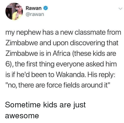 """Africa, Kids, and Awesome: Rawan  @rawan  my nephew has a new classmate from  Zimbabwe and upon discovering that  Zimbabwe is in Africa (these kids are  6), the first thing everyone asked him  is if he'd been to Wakanda. His reply:  """"no, there are force fields around it"""" Sometime kids are just awesome"""