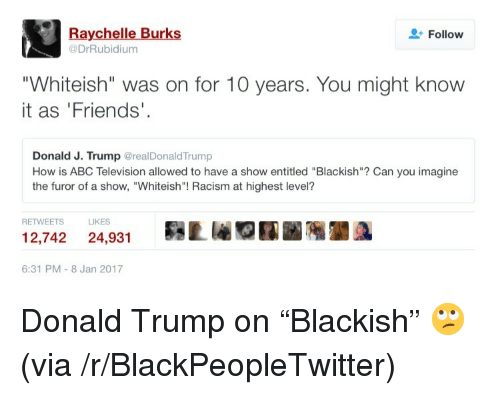 """Donald Trump On: Raychelle Burks  @DrRubidium  Follow  """"Whiteish"""" was on for 10 years. You might know  it as 'Friends'  Donald J. Trump @realDonaldTrump  How is ABC Television allowed to have a show entitled """"Blackish""""? Can you imagine  the furor of a show, """"Whiteish""""! Racism at highest level?  RETWEETS  LIKES  12,742 24,931Lr  6:31 PM-8 Jan 2017 <p>Donald Trump on &ldquo;Blackish&rdquo; 🙄 (via /r/BlackPeopleTwitter)</p>"""