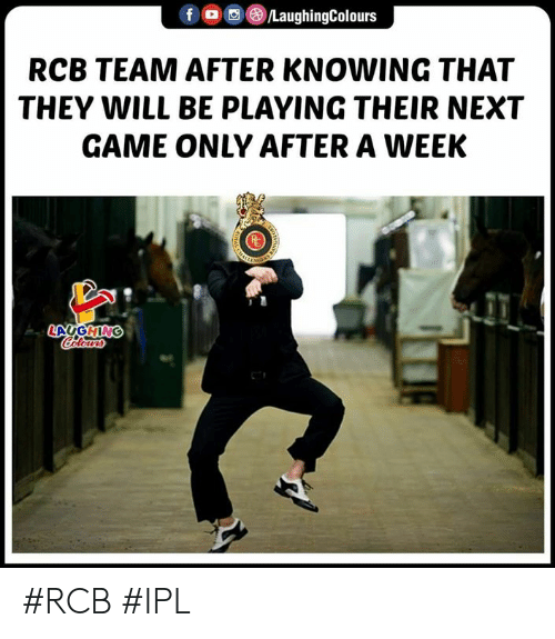 Game, Indianpeoplefacebook, and Ipl: RCB TEAM AFTER KNOWING THAT  THEY WILL BE PLAYING THEIR NEXT  GAME ONLY AFTER A WEEK #RCB #IPL