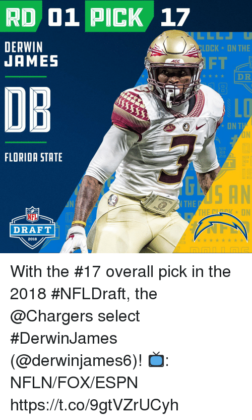 Idr: RD 01 PICK 17  DERWIN  JAMES  CLOCK ON THE  FT  ★★★★ IDR  DB  LD  ONT  FLORIDA STATE  THE  no  NFL  DRAFT  2018 With the #17 overall pick in the 2018 #NFLDraft, the @Chargers select #DerwinJames (@derwinjames6)!  📺: NFLN/FOX/ESPN https://t.co/9gtVZrUCyh