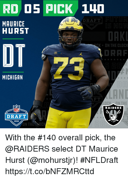 Clock, Memes, and Nfl: RD O5 PICK 14D  DRAFT  MAURICE  HURST  2018  ORK  ON THE CLOCK  OT  DRAF  18  23  MICHIGAN  FT  18  RAIDERS  NFL  DRAFT  2018  ON THE ICK  20 With the #140 overall pick, the @RAIDERS select DT Maurice Hurst (@mohurstjr)! #NFLDraft https://t.co/bNFZMRCttd
