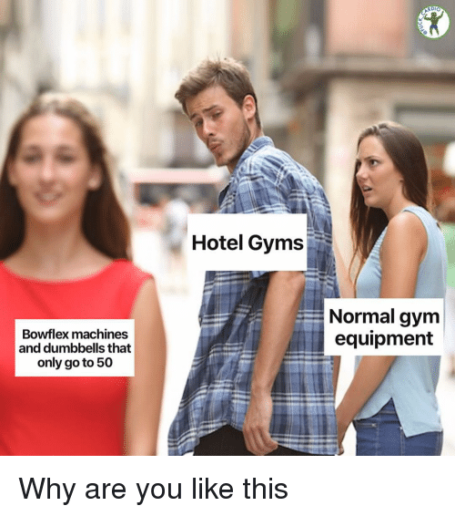 gyms: RDIO  Hotel Gyms  Normal gym  equipment  Bowflex machines  and dumbbells that  only go to 50 Why are you like this