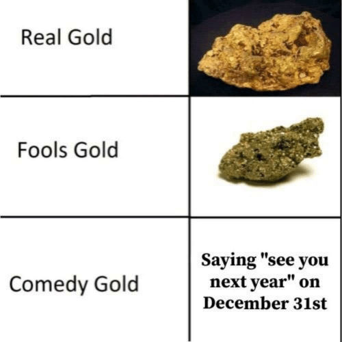 "Next Year: Real Gold  Fools Gold  Saying ""see you  next year""  Comedy Gold  on  December 31st"