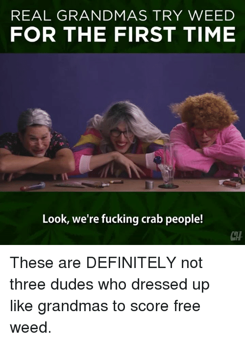 were fucked: REAL GRANDMAS TRY WEED  FOR THE FIRST TIME  Look, we're fucking crab people! These are DEFINITELY not three dudes who dressed up like grandmas to score free weed.