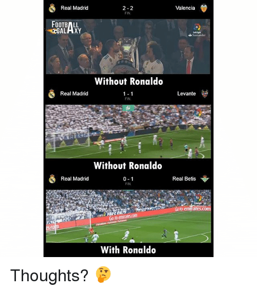 Football, Memes, and Real Madrid: Real Madrid  2-2  FIN  Valencia  FOOTBALL  GALAXY  Without Ronaldo  1-1  FIN  Real Madrid  Levante  Without Ronaldo  0-1  FIN  Real Madrid  Real Betis  Co to emates.com  Go to emirates.com  With Ronaldo Thoughts? 🤔