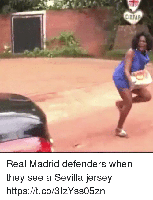 Memes, Real Madrid, and 🤖: Real Madrid defenders when they see a Sevilla jersey  https://t.co/3IzYss05zn