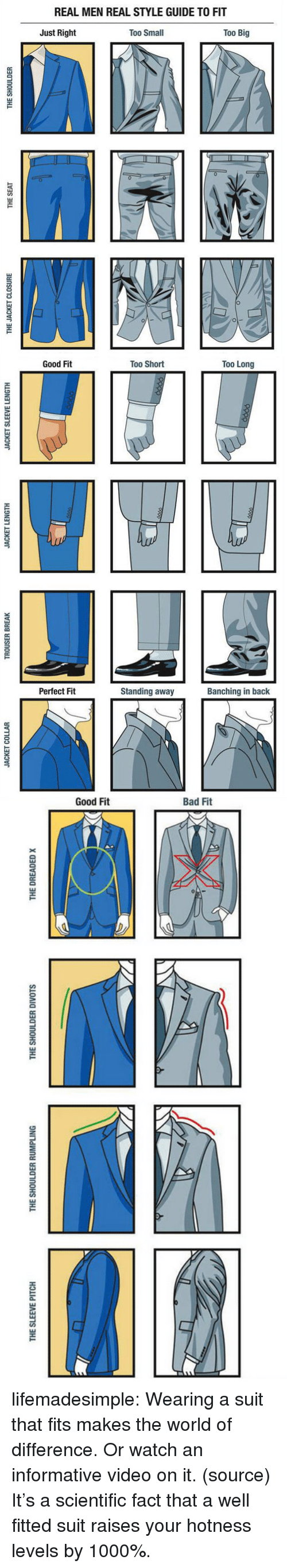 hotness: REAL MEN REAL STYLE GUIDE TO FIT  Just Right  Too Small  Too Big  0  1   Good Fit  Too Short  Too Long  Perfect Fit  Standing away  Banching in back   THE SLEEVE PITCH  THE SHOULDER RUMPLING  THE SHOULDER DIVOTS  THE DREADED x lifemadesimple:  Wearing a suit that fits makes the world of difference. Or watch an informative video on it. (source)  It's a scientific fact that a well fitted suit raises your hotness levels by 1000%.