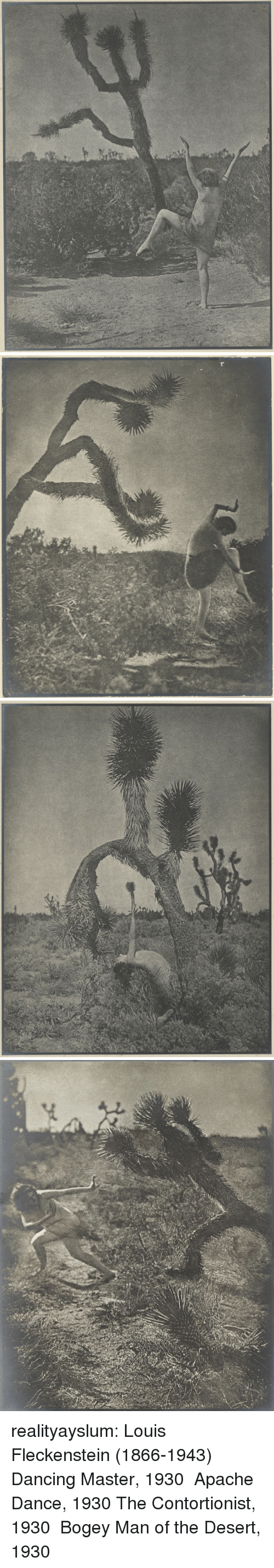 Dancing, Tumblr, and American: realityayslum:   Louis Fleckenstein (1866-1943) Dancing Master, 1930  Apache Dance, 1930   The Contortionist, 1930  Bogey Man of the Desert, 1930