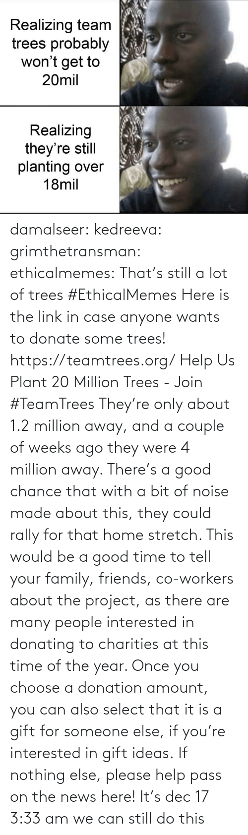 donate: Realizing team  trees probably  won't get to  20mil  Realizing  they're still  planting over  18mil damalseer:  kedreeva: grimthetransman:  ethicalmemes:  That's still a lot of trees #EthicalMemes   Here is the link in case anyone wants to donate some trees!  https://teamtrees.org/ Help Us Plant 20 Million Trees - Join #TeamTrees  They're only about 1.2 million away, and a couple of weeks ago they were 4 million away. There's a good chance that with a bit of noise made about this, they could rally for that home stretch. This would be a good time to tell your family, friends, co-workers about the project, as there are many people interested in donating to charities at this time of the year. Once you choose a donation amount, you can also select that it is a gift for someone else, if you're interested in gift ideas. If nothing else, please help pass on the news here!    It's dec 17 3:33 am we can still do this