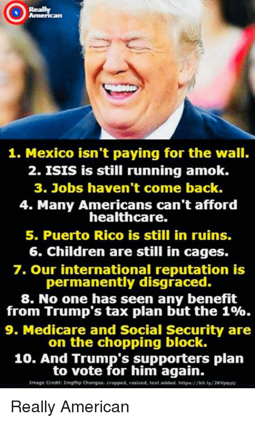 Children, Isis, and American: Really  1. Mexico isn't paying for the wall.  2. ISIS is still running amok.  3. Jobs haven't come back.  4. Many Americans can't afford  healthcare.  5. Puerto Rico is still in ruins.  6. Children are still in cages.  7. Our international reputation is  permanently disgraced.  8. No one has seen any benefit  from Trump's tax plan but the 1%.  9. Medicare and Social Security are  on the chopping block.  10. And Trump's supporters plan  to vote for him again.  Image Credit:Imghip Changes: cropped, resized, text added httpa://bit.ly/2KVpbrU Really American