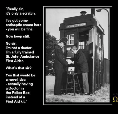 Doctor, Memes, and Police: Really sir,  it's only a scratch.  I've got some  antiseptic cream here  -you will be fine.  Now keep still  No sir  I'm not a doctor  I'm a fully trained  St. John Ambulance  First Aider  What's that sir?  Yes that would be  a novel idea  actually having  a Doctor in  the Police Box  instead of a  First Aid kit.""